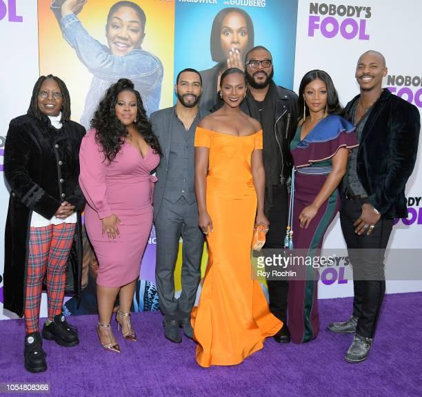Whoopi Goldberg Amber Riley Omari Hardwick Tika Sumpter Tyler Perry Tiffany Haddish and Mehcad Brooks attend the world premiere of 'Nobody's Fool' at...