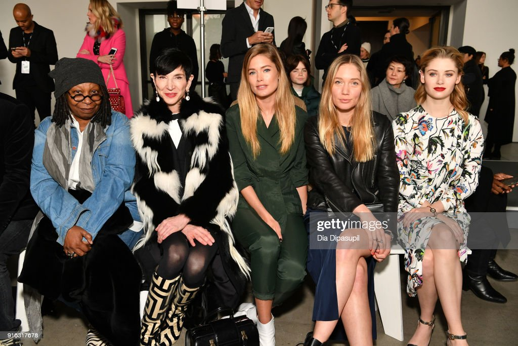 Whoopi Goldberg, Amy Fine Collins, Doutzen Kroes, guest and Virginia Gardner attend the Jason Wu front row during New York Fashion Week: The Shows at Gallery I at Spring Studios on February 9, 2018 in New York City.