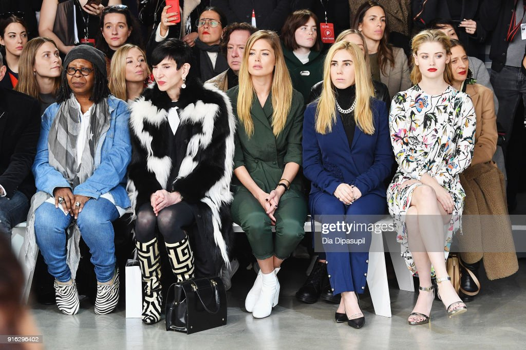 Whoopi Goldberg, Amy Fine Collins, Doutzen Kroes, Zosia Mamet and Virginia Gardner attend the Jason Wu front row during New York Fashion Week: The Shows at Gallery I at Spring Studios on February 9, 2018 in New York City.