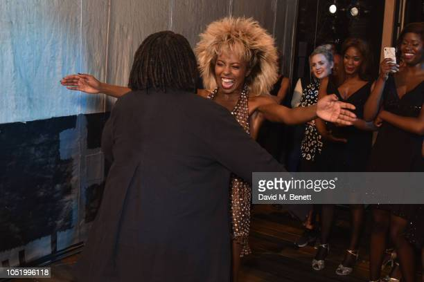 Whoopi Goldberg and Adrienne Warren backstage at the West End production of 'Tina The Tina Turner Musical' at The Aldwych Theatre on October 12 2018...