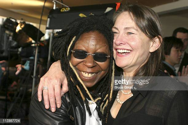 Whoopi Goldberg and Cherry Jones during 59th Annual Tony Awards Nomination Press Brunch at Marriott Marquis in New York City New York United States
