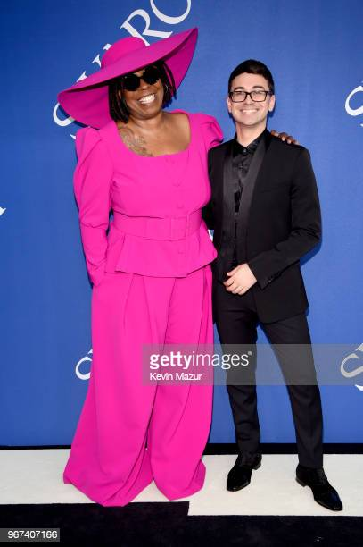 Whoopi Goldberg and designer Christian Siriano attends the 2018 CFDA Fashion Awards at Brooklyn Museum on June 4 2018 in New York City