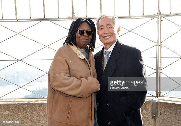 Whoopi Goldberg and George Takei attend a lighting ceremony at The Empire State Building in honor of World AIDS Day on November 30 2015 in New York...