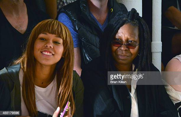 Whoopi Goldberg and her granddaughter Jerzey Dean attend Jeremy Scott from front row during MADE Fashion Week Spring 2015 at Milk Studios on...