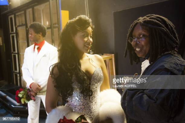 Whoopi Goldberg and Kania perform on stage during 'Sister Act: The Musical' Gala Premiere at Theatre Mogador on September 20, 2012 in Paris, France.