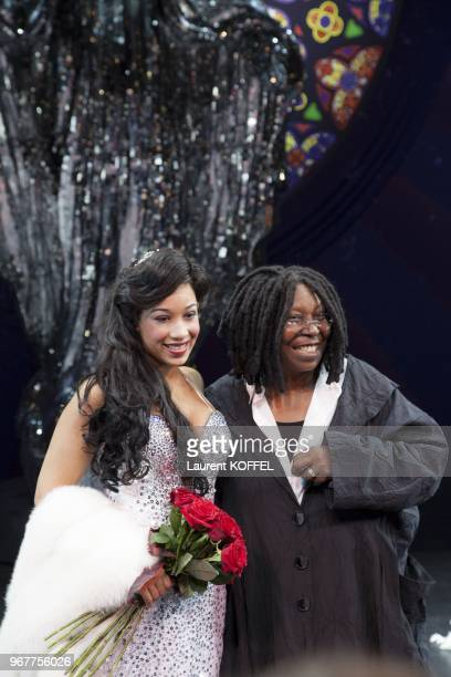 Whoopi Goldberg and Kania perform on stage during 'Sister Act The Musical' Gala Premiere at Theatre Mogador on September 20 2012 in Paris France