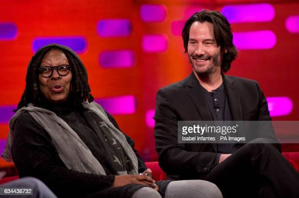 Whoopi Goldberg and Keanu Reeves during the filming of the Graham Norton Show at The London Studios south London to be aired on BBC One on Friday