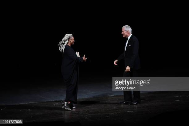 """Whoopi Goldberg and Marco Tronchetti Provera attend the presentation of the Pirelli 2020 Calendar """"Looking For Juliet"""" at Teatro Filarmonico on..."""