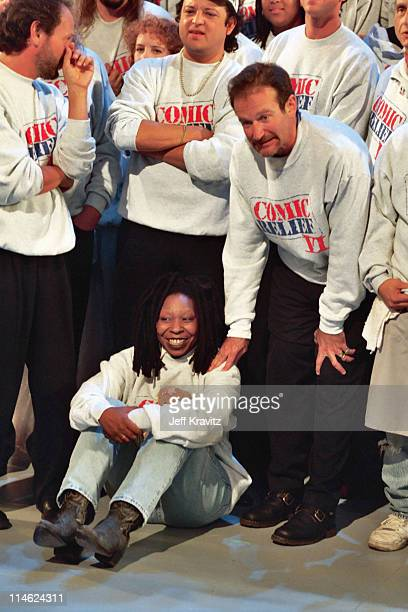Whoopi Goldberg and Robin Williams during 6th Comic Relief To Benefit The Homeless at Shrine Auditorium in Los Angeles CA United States
