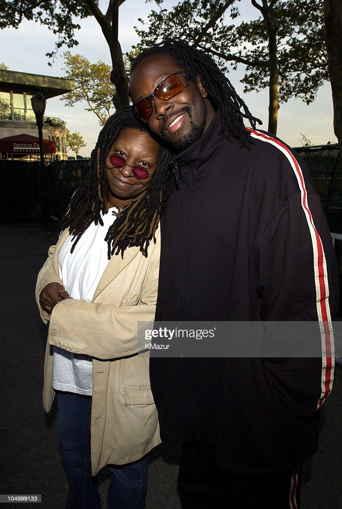 Whoopi Goldberg and Wyclef Jean during MTV's Rock and Comedy Concert - Backstage at Battery Park in New York City, New York, United States.