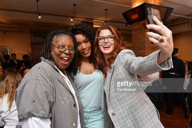 Whoopi Goldberg Angela Bassett and Debra Messing attend the 2019 Tribeca Film Festival Jury Lunch at Tribeca Grill Loft on April 25 2019 in New York...