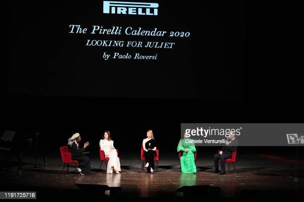 "Whoopi Goldberg, Claire Foy, Mia Goth, Yara Shahidi and Paolo Roversi attend the presentation of the Pirelli 2020 Calendar ""Looking For Juliet"" at..."