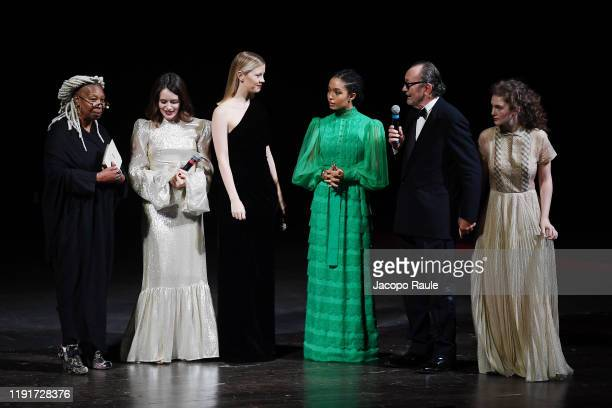 "Whoopi Goldberg, Claire Foy, Mia Goth, Yara Shahidi, Paolo Roversi and Stella Roversi attend the presentation of the Pirelli 2020 Calendar ""Looking..."