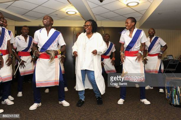Whoopi Goldberg dances with the Kenyan Boys Choir backstage at the WE Day UN at The Theater at Madison Square Garden on September 20 2017 in New York...