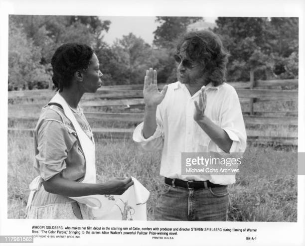 Whoopi Goldberg has conversation with Steven Spielberg offcamera from the film 'The Color Purple' 1985