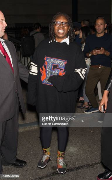 Whoopi Goldberg is seen leaving the FENTY PUMA by Rihanna Spring/Summer 2018 Collection at Park Avenue Armory on September 10 2017 in New York City
