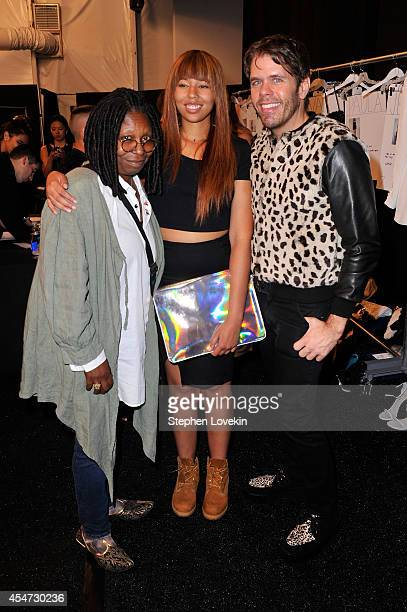 Whoopi Goldberg Jerzey Dean and Perez Hilton pose backstage at the August Getty fashion show during MercedesBenz Fashion Week Spring 2015 at The...