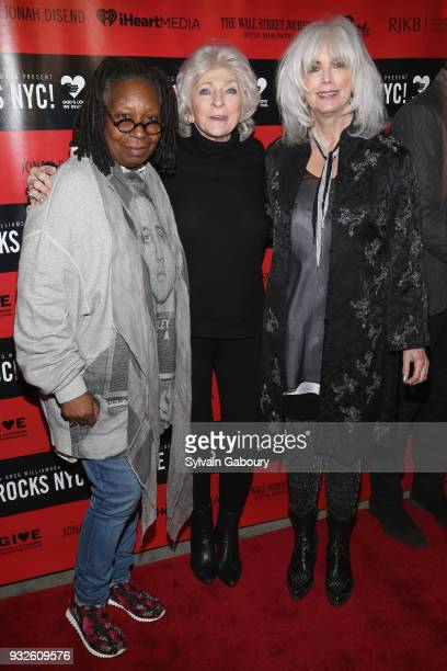 Whoopi Goldberg Judy Collins and Emmylou Harris attend Love Rocks NYC Concert benefiting God's Love We Deliver Red Carpet at Beacon Theatre on March...