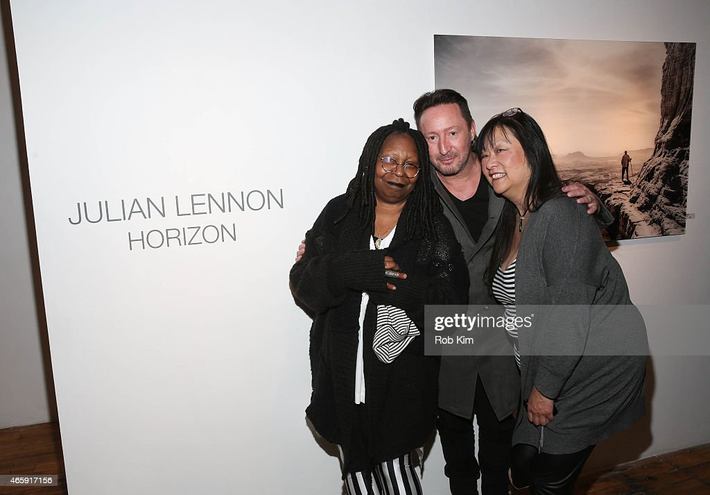 Whoopi Goldberg, Julian Lennon and May Pang attend Julian Lennon's 'Horizon' Exhibition Opening at Emmanuel Fremin Gallery on March 11, 2015 in New York City.
