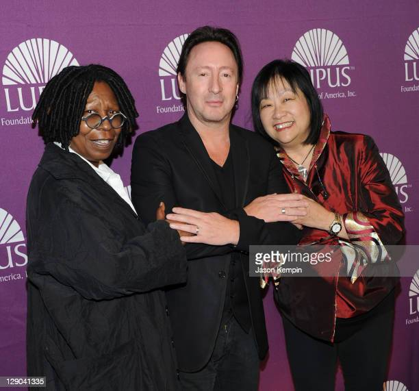 Whoopi Goldberg Julian Lennon and May Pang attend the 2011 Lupus Foundations Of America Butterfly Gala at The Pierre Hotel on October 11 2011 in New...