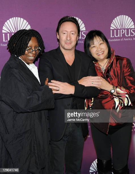 Whoopi Goldberg Julian Lennon and May Pang attends the 2011 Lupus Foundations Of America Butterfly Gala at The Pierre Hotel on October 11 2011 in New...