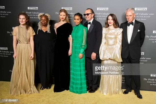Whoopi Goldberg, Marco Tronchetti Provera, Claire Foy, Keri Shahidi, Mia Goth, Stella Roversi and Paolo Roversi during the presentation of the...