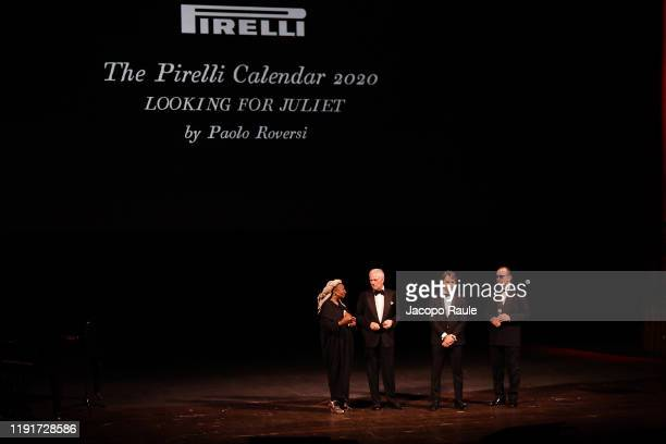 "Whoopi Goldberg, Marco Tronchetti Provera, Federico Sboarina and Paolo Roversi attend the presentation of the Pirelli 2020 Calendar ""Looking For..."