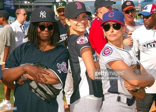 Whoopi Goldberg Maria Menounos and Marlee Matlin during the 2008 MLB AllStar Week Taco Bell AllStar Legends Celebrity Softball Game at Yankee Stadium...