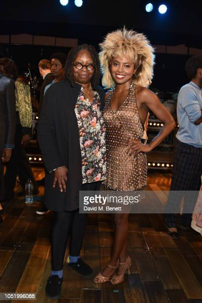 Whoopi Goldberg poses with Adrienne Warren backstage at the West End production of 'Tina The Tina Turner Musical' at The Aldwych Theatre on October...