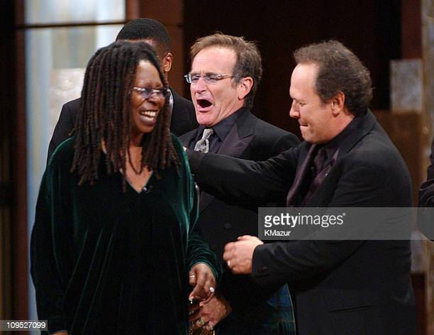"""Whoopi Goldberg, Robin Williams, and Billy Crystal photographed during finale; """"On Stage at the Kennedy Center: The Mark Twain Prize"""" will air..."""