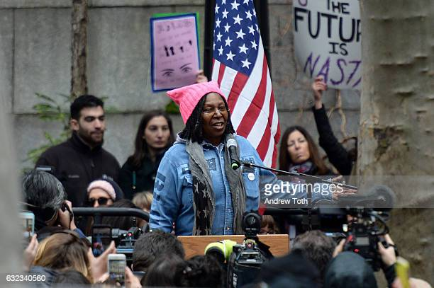Whoopi Goldberg speaks during the 2017 Women's March Sister March in New York on January 21 2017 in New York City