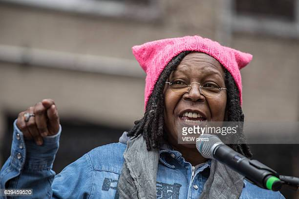 Whoopi Goldberg speaks onstage at the Women's March in New York City on January 21 2017 Protesters in the United States and around the world are...