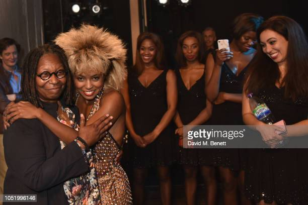 Whoopi Goldberg with Adrienne Warren backstage at the West End production of Tina The Tina Turner Musical at The Aldwych Theatre on October 12 2018...