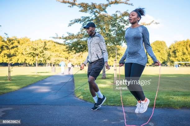 who's gonna jump higher? - cardiovascular exercise stock pictures, royalty-free photos & images