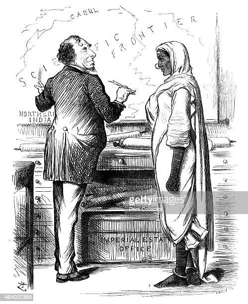 'Who's to Pay' 1878 British prime minister Benjamin Disraeli and a personification of India wearing a sari Behind is a map of India's North West...