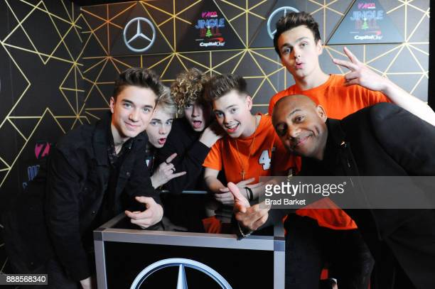 Why Don't We and Maxwell attend the Z100's Jingle Ball 2017 backstage on December 8 2017 in New York City
