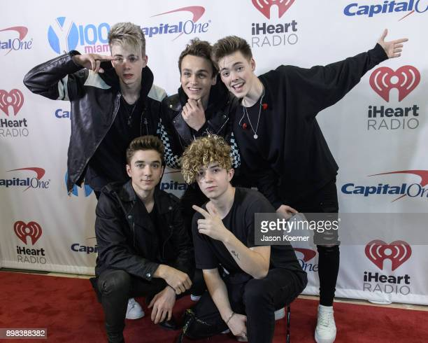 Why Don't We arrives at the IHeartRadio Jingle Ball 2017 at BBT Center on December 17 2017 in Sunrise Florida