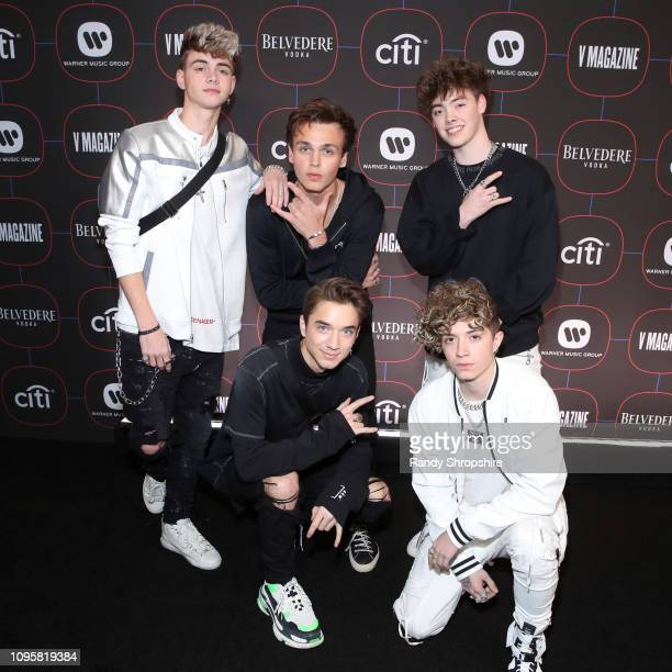 Why Don't We attends the Warner Music PreGrammy Party at the NoMad Hotel on February 7 2019 in Los Angeles California