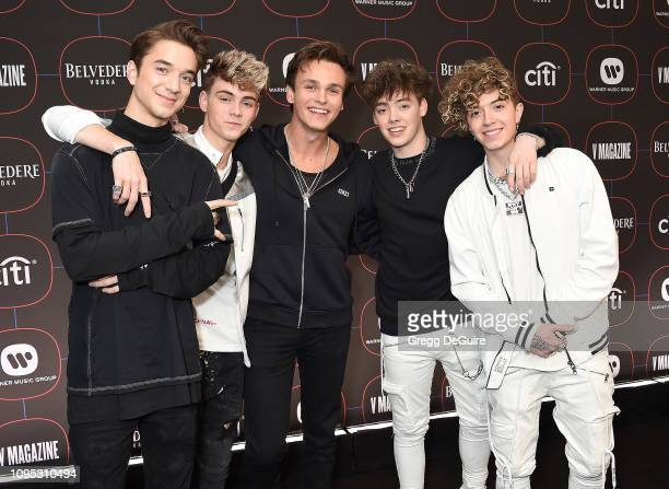 Why Don't We Daniel Seavey Jack Avery Corbyn Besson Zach Herron and Jonah Marais arrive at the Warner Music Group PreGrammy Celebration at Nomad...