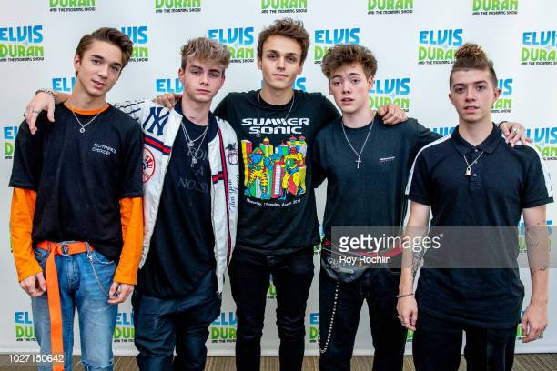 Why Don't We members Daniel Seavey Besson Corbyn Jonah Marais Zach Herron and Jack Avery visit the Elvis Duran Show co hosted by singer Alessia Cara...