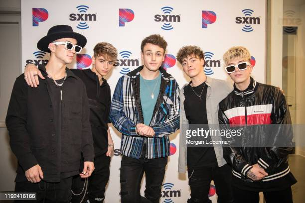 Why Don't We members Daniel Seavey Corbyn Besson Jonah Marais Zach Herron and Jack Avery at SiriusXM Hollywood Studio on December 06 2019 in Los...