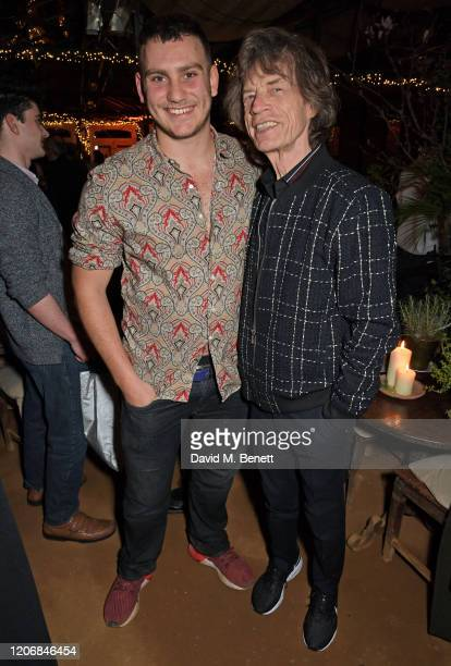 whynow Founder Gabriel Jagger and Sir Mick Jagger attend the launch of new positive media platform 'whynow' at Petersham Nurseries on March 12 2020...
