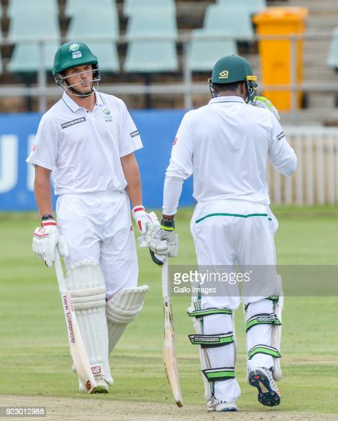 Wiaan Mulder and Senuran Muthusamy of South Africa during day 1 of the Tour match between South Africa A and Australia at Sahara Park Willowmoore on...