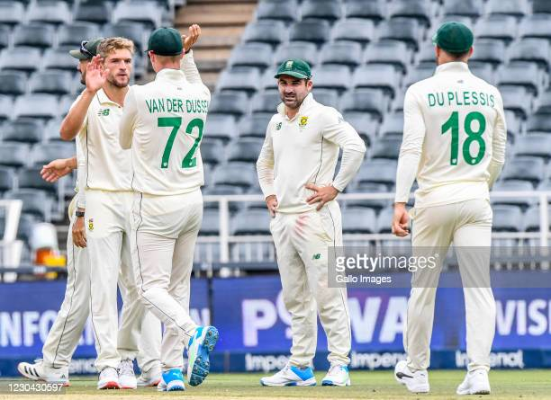 Wiaan Mulder of South Africa celebrates with teammates during day 3 of the 2nd Betway Test match between South Africa and Sri Lanka at Imperial...