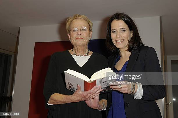 Wibke Bruhns and Anne Will attend the book Release Nachrichtenzeit at the Dussmann store on March 5 2012 in Berlin Germany