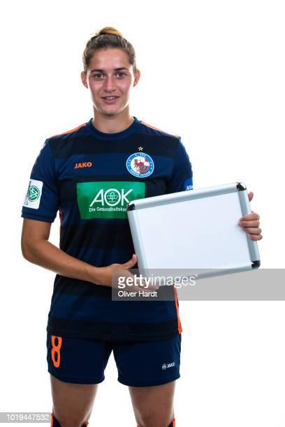 Wibke Meister of Turbine Potsdam poses during the Allianz Frauen Bundesliga Club Tour at on August 17 2018 in Potsdam Germany