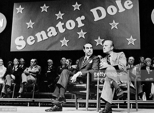 Wichita, Kansas: President Gerald Ford and Kansas Senator Bob Dole sit on the stage during a rally in Wichita, November 2. Ford stopped in Wichita to...