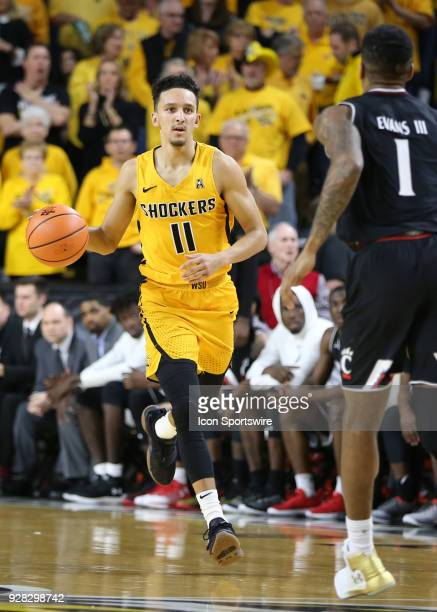 Wichita State Shockers guard Landry Shamet brings the ball upcourt in the second half of an American Athletic Conference matchup between the 10th...
