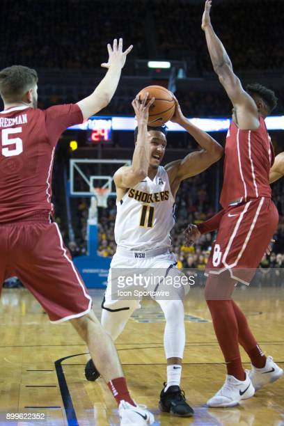 Wichita State Shockers guard Landry Shamet during the college mens basketball game between the Oklahoma Sooners and the Wichita State Shockers on...