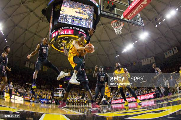 Wichita State Shockers guard Landry Shamet jumps up for a pass during the AAC conference mens basketball game between the Temple Owls and the Wichita...
